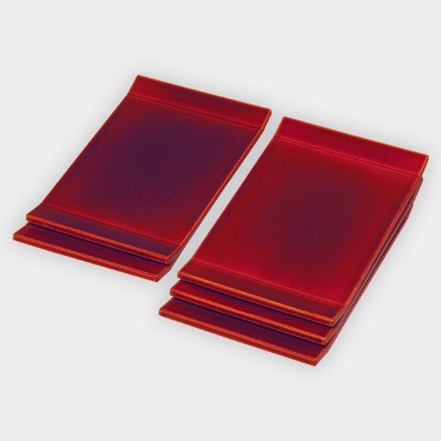 両折上銘々皿 紅(5枚セット)