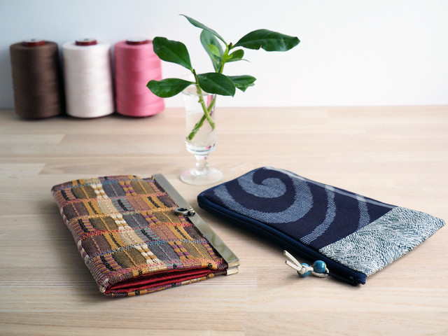 【KS様専用・受注制作】変わり織り帯の文鎮口金財布と渦巻絹紅梅のぺたんこ財布