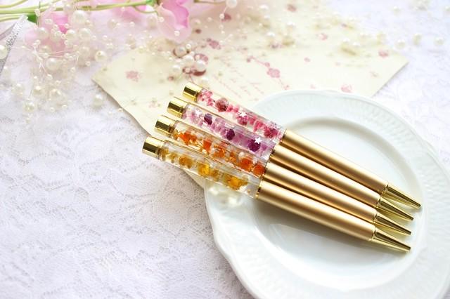 星入り★ゴールドオレンジ★ハーバリウムボールペン