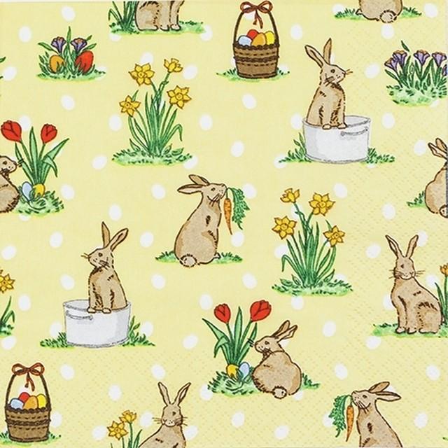 2021春夏【Home Fashion】バラ売り2枚 ランチサイズ ペーパーナプキン Little Rabbits イエロー