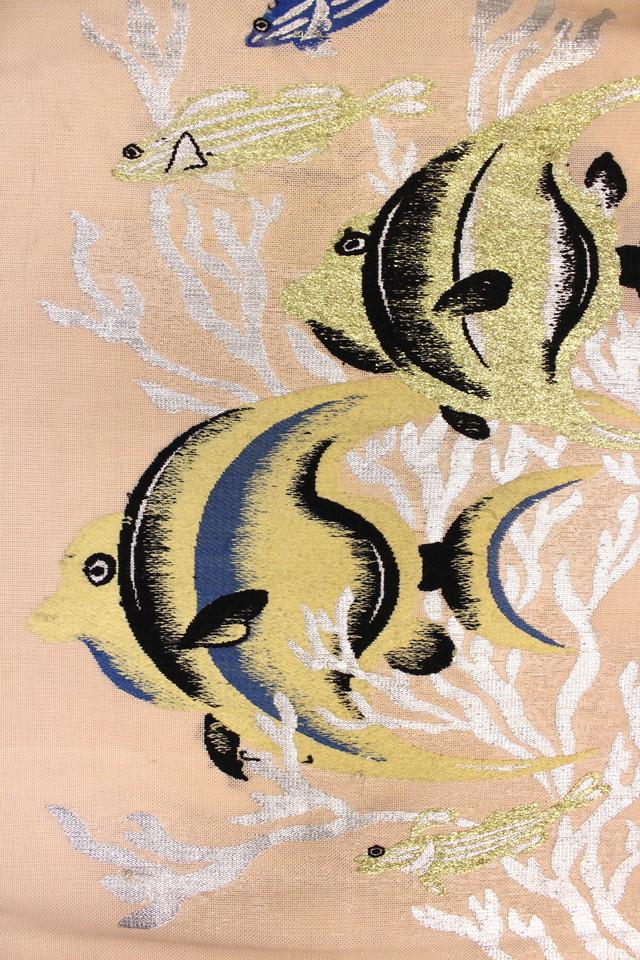ペールピンク色熱帯魚紗名古屋帯