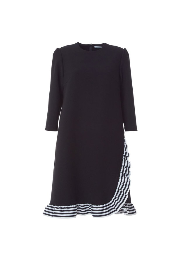 BORDERS at BALCONY TRIMMED DRESS