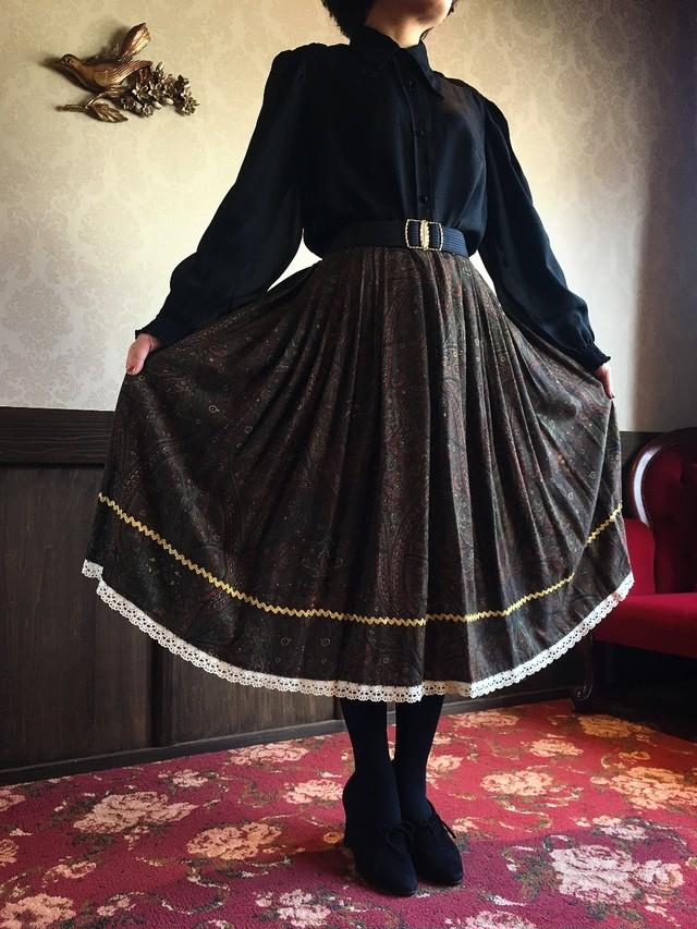ダークブラウン ペルシャ柄 スカート