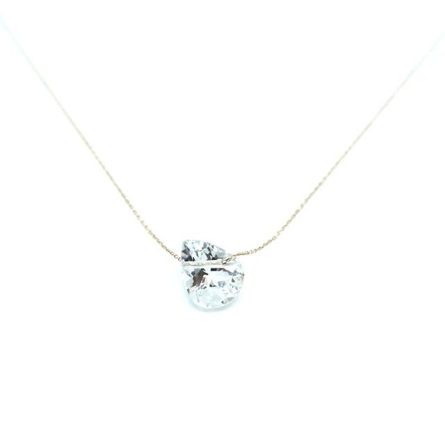 Holey stone Necklace White topaz pairshaipe - K18YG
