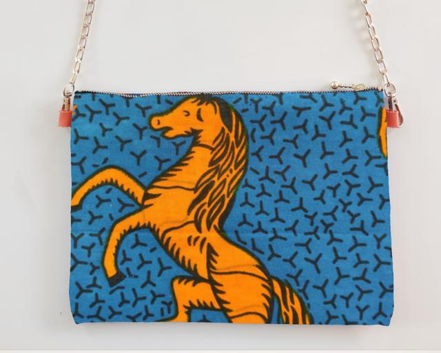 アフリカンファブリック ショルダーポーチ 青地にオレンジの馬 オーダー