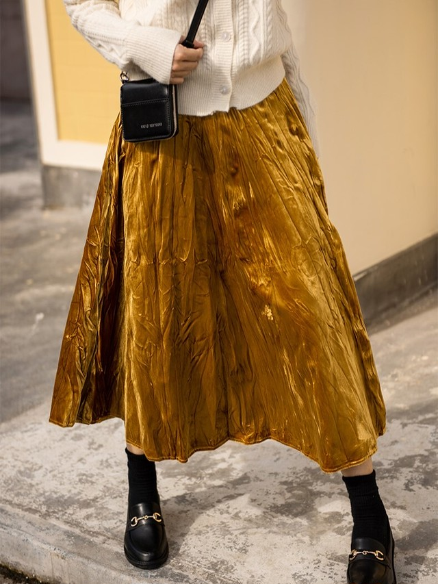 レトロプリーツゴールドベルベットスカート