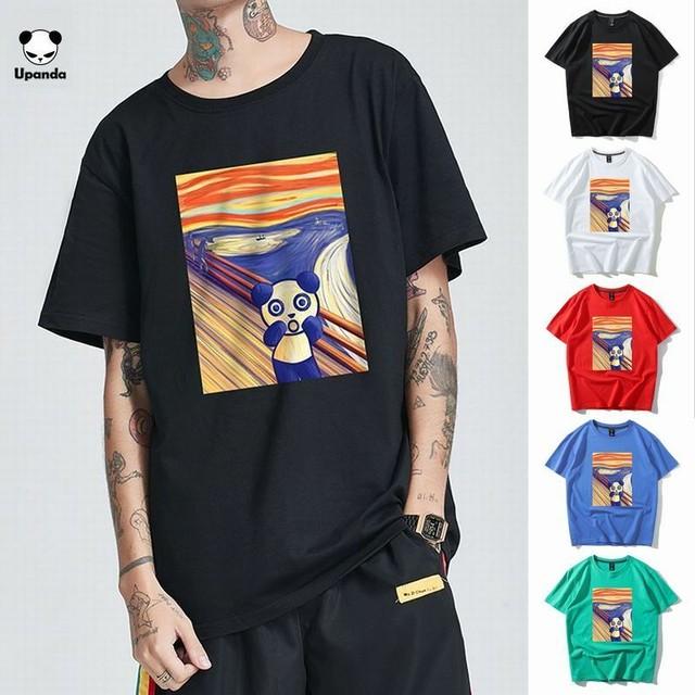 【5カラー】ユニセックス メンズ/レディース 半袖 Tシャツ パンダの叫び パンダプリント UPANDA ストリート系 / UPANDA's simple breathable T-shirt (DCT-597546368539)