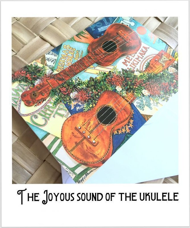"Hawaiian Holiday cards 2 SET ""The joyous sound of the Ukulele"