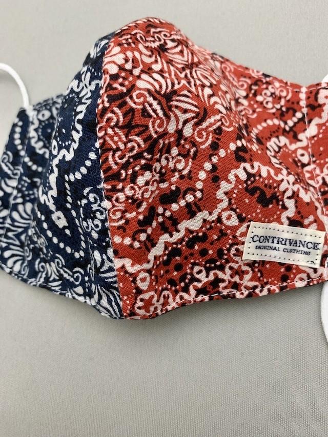 アメカジ [日本製バンダナ柄)]洗って使える立体裁断フェイスマスク (薄手)  メンズサイズ ネイビー×レッド一点物