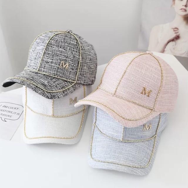 キルティング ラインストーン キャップ 帽子 4色 B7589