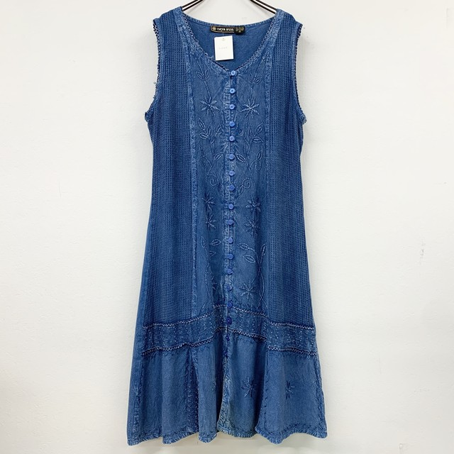 USA  vintage embroidery sleeveless  onepiece - indigo -