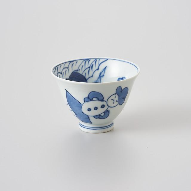 【青花】内船外人形 百合型仙茶