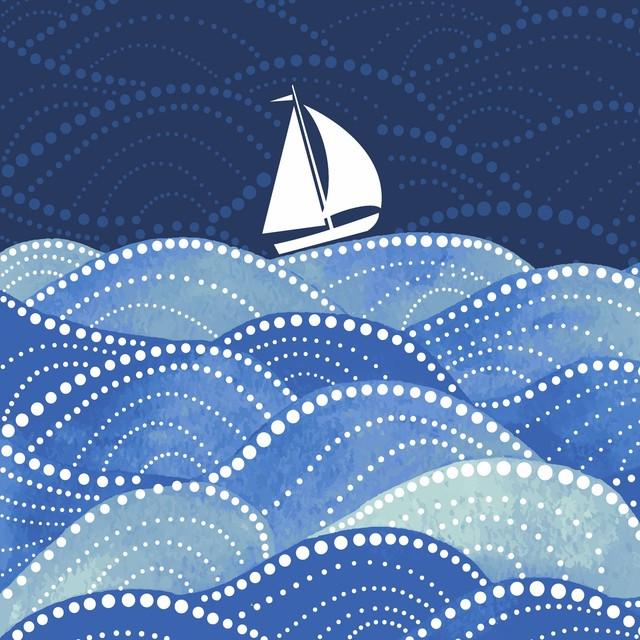 2021春夏【Paper+Design】バラ売り2枚 ランチサイズ ペーパーナプキン Sailing ブルー