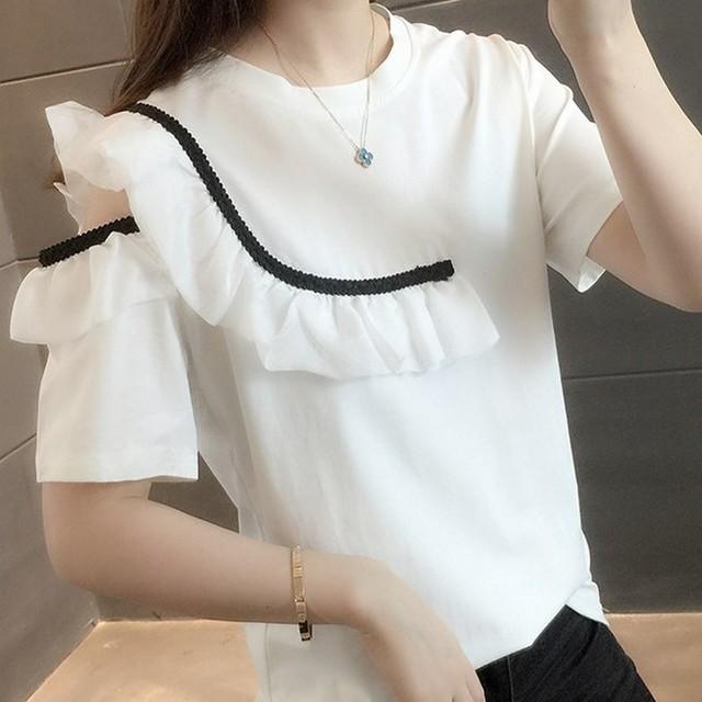 バイカラーフリルTシャツ 1236