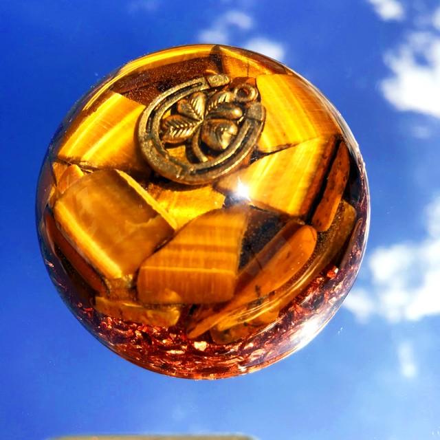 【うまくいく!開運する!仕事運などアップ!】ドーム型オルゴナイト・154《6cm》~幸運の馬蹄&クローバー~