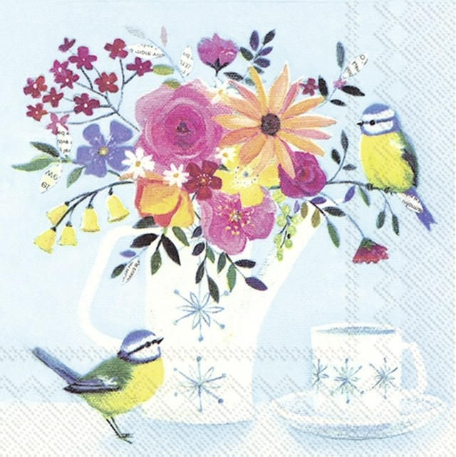 2021春夏【IHR】バラ売り2枚 ランチサイズ ペーパーナプキン POT FLOWERS ブルー