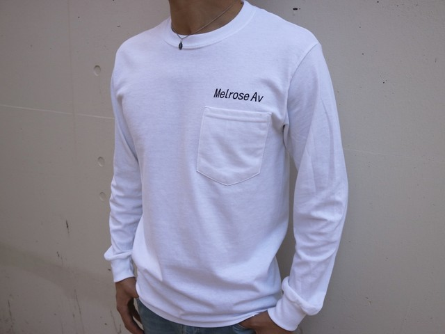 LA Melrose ポケットロングTシャツ(white)