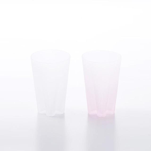 SAKURASAKU glass (サクラサクグラス) Frost Tumbler(タンブラー)【雪桜・紅白】ペアセット 木箱入り