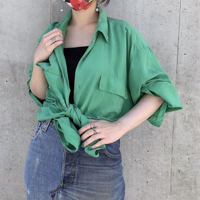 Euro vintage l/s silk shirt -Cucumber green-
