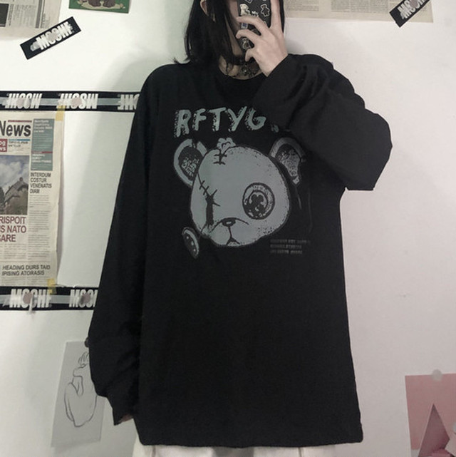 【トップス】激売れ中韓国系ラウンドネックプリントカートゥーンプルオーバーTシャツ35558592