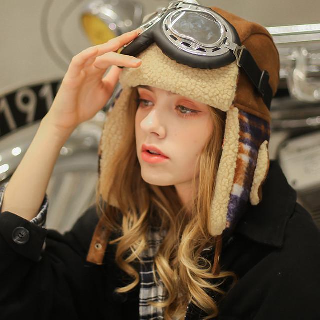 【shescolourシリーズ】★帽子★ ぼうし 3color 男女兼用 メンズ メガネ付き 厚て 暖か チェック柄 ファション 個性的