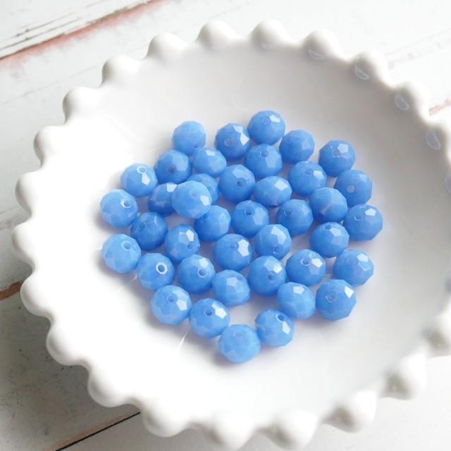 【445b-p1】10pcs  カラフルカットガラスビーズ L.ブルー 7×6mm