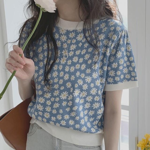 韓国の花柄半袖セーター   T-115