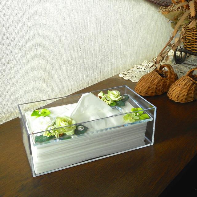 ティッシュケース「彩」(グリーンホワイト)|全5色