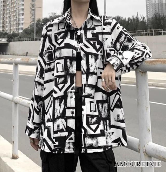 シャツ スタイリッシュ モノトーン モード 長袖 アウター カジュアル ストリート ピープス オルチャン 韓国ファッション 1647