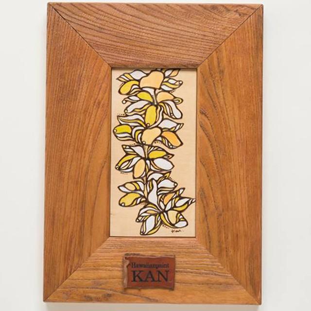 Art 【Plumeria Yellow・ 欅(ケヤキ)の木フレーム】