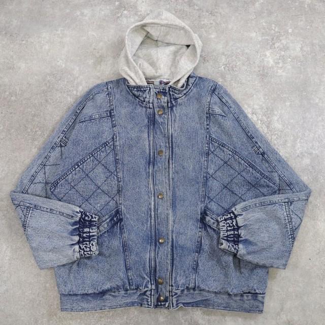 OLD denim switching hoodie