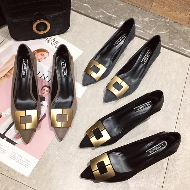 【shoes】優しい感じポインテッドトゥ浅い口パンプス 22582681