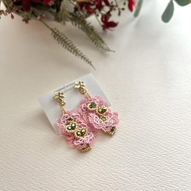 タティングレース heart beads