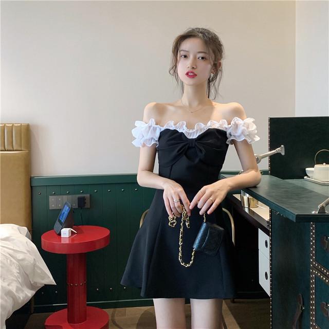 【dress】ボートネックスウィートシフォン配色切り替え気質ハイウエストデートワンピース