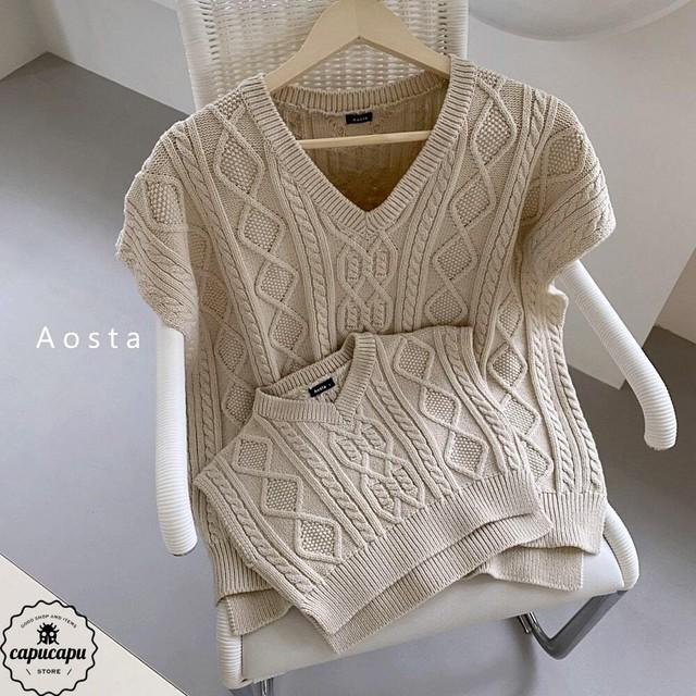 «予約»«mom» tweed knit  vest 3colors ニットベスト ママサイズ