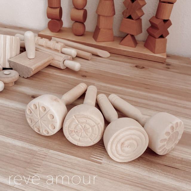 【受注】wooden stamp 4set 木製スタンプセット