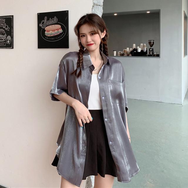 【トップス】韓国系半袖シングルブレストPOLOネックシャツ44509734