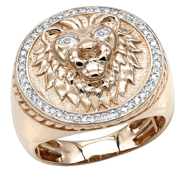 SOLID 10K ROSE GOLD LION HEAD DIAMOND RING 0.3CT LUXURMAN PINKY RINGS