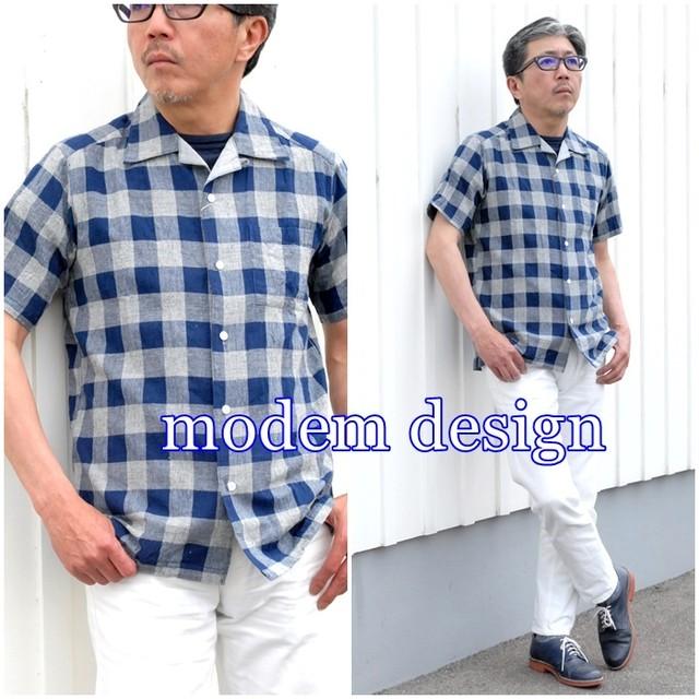 半袖チェックシャツ ブロックチェックシャツ モデムデザイン modemdesign メンズ 半袖シャツ 綿麻 M1701752