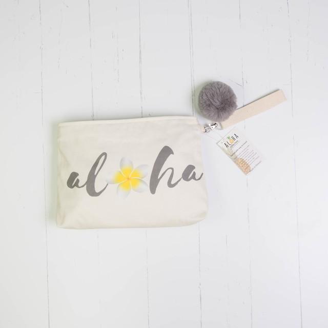 クラッチバッグ (防水裏地付き)Natural Aloha Plumeria Script