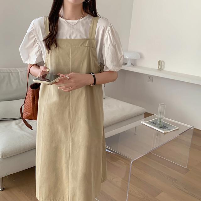 【ワンピース】サスペンダースクエアワンピース and シャツset(beige)