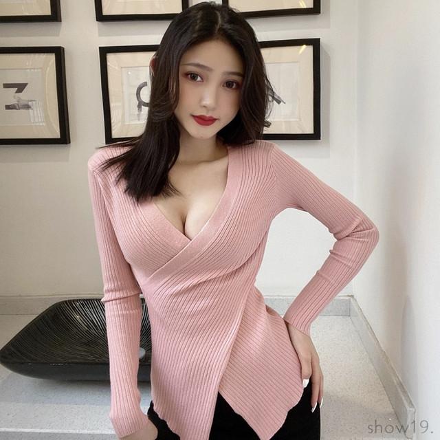 【トップス】超人気商品プルオーバー切り替えファッションセクシーニットセーター40807762