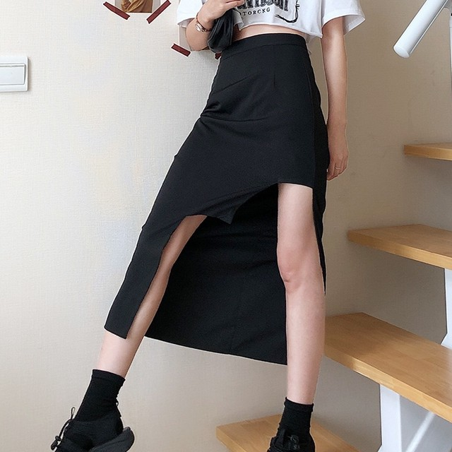 【ボトムス】hiphop韓国系すね丈不規則ハイウエストスカート41992613