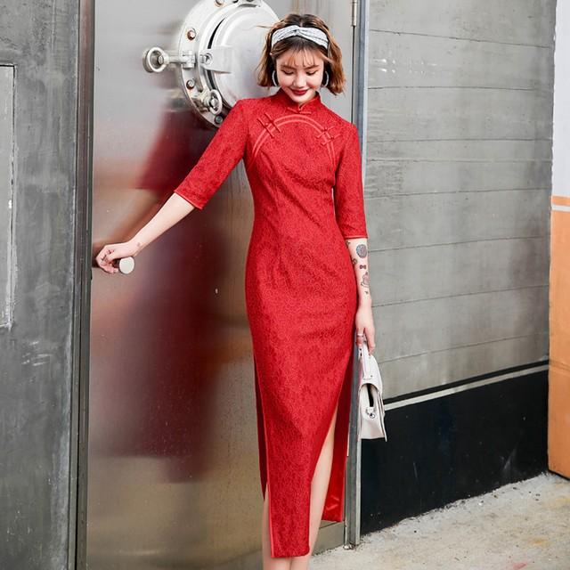 ロング丈チャイナドレス レースチャイナドレス チャイナ風ワンピース ロングドレス 七分袖 大きいサイズ S M L LL 3L 4L 民国風 エレガント チャイナ風服 レッド 赤い