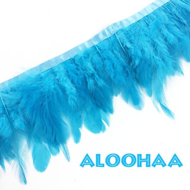 フェザーロール【ターコイズ】7-12cm丈 1m DIY 羽 衣装材料 タヒチアン