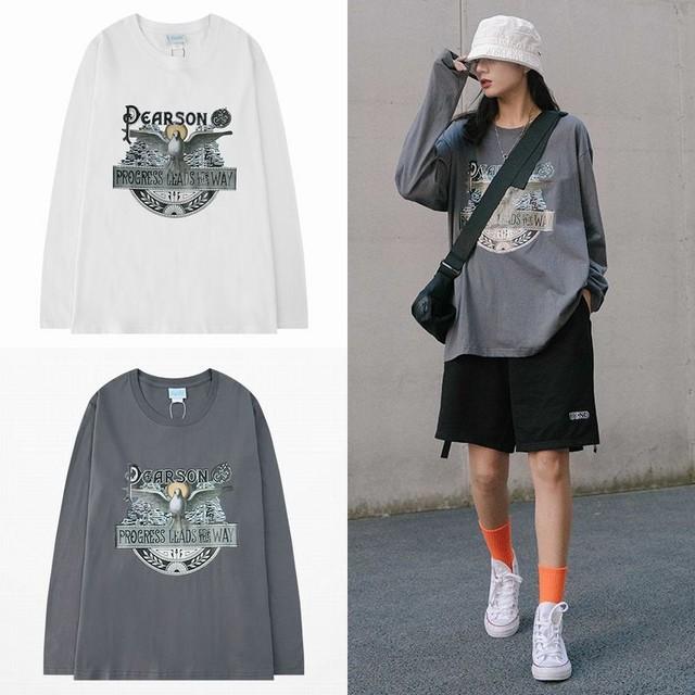 ユニセックス 長袖 Tシャツ メンズ レディース ハト プリント オーバーサイズ 大きいサイズ ストリート 605882114764