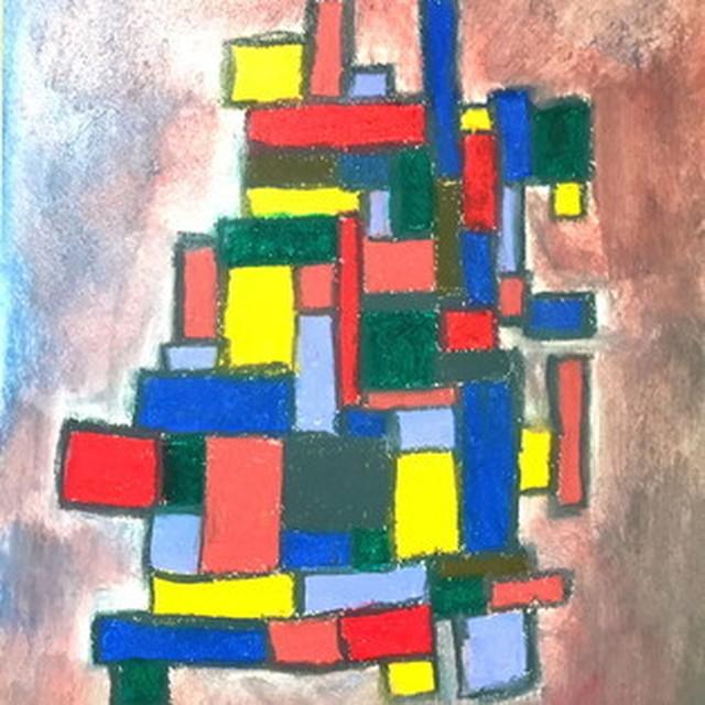絵画 絵 ピクチャー 縁起画 モダン シェアハウス アートパネル アート art 14cm×14cm 一人暮らし 送料無料 インテリア 雑貨 壁掛け 置物 おしゃれ 現代アート 抽象画 ロココロ 画家 : Mitsuo Ito 作品 : THE WALL No.1