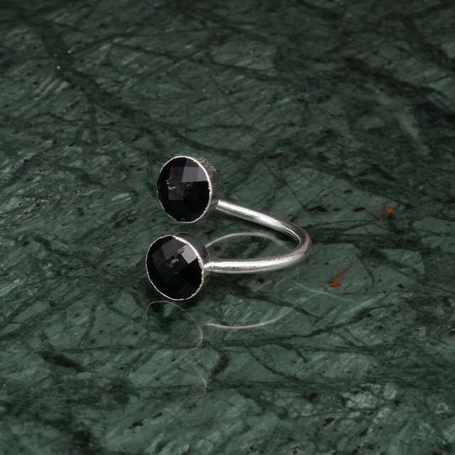 DOUBLE STONE OPEN RING SILVER 013