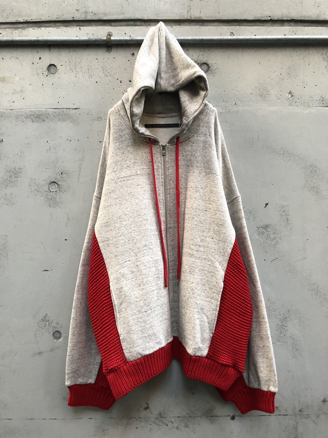 『my beautiful landlet』knitting mix swiching hoodie / beige×red