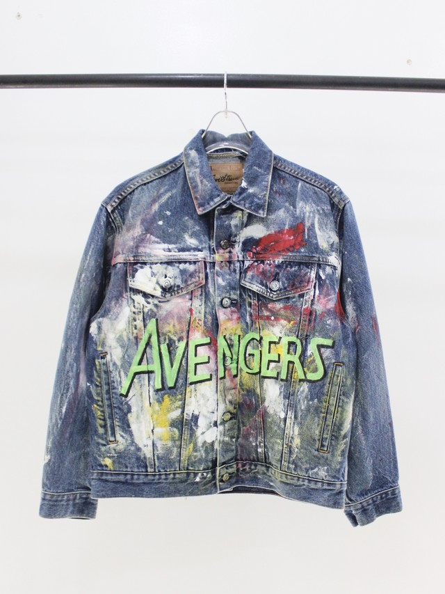 Used MARVEL fan paint Denim jacket
